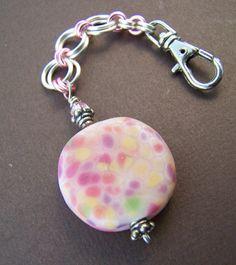 Confetti Clip Key Chain  Glass Bead by StoneStreetStudio on Etsy, $29.00