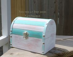 Hand Painted Shabby Chic Beach Decor Wedding Trinket Card Box by KateBraque on Etsy