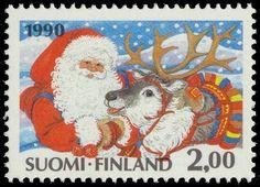 Joulumerkki 1990 2/2 - Joulupukki ja poro
