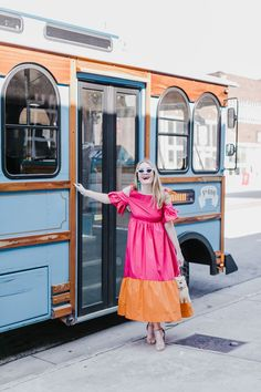 Trolley Stop | Pink and Orange Colorblock Cold Shoulder Dress