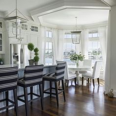 Upholstered counter stools direct the style of this room