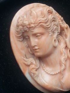 Huge Beautiful Museum Quality Coral Cameo of Artemis / Diana 2.5 Inches Perfect