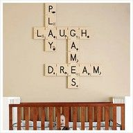 Absolutely love this Scrabble inspired decoration! This could definitely be easily made (I would have to look up what the Scrabble pieces look like since I can't remember the numbers that go with each letter).