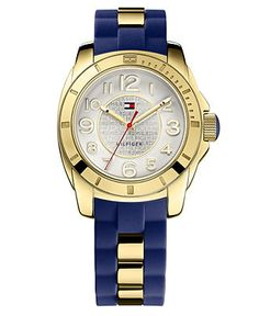 Tommy Hilfiger Watch, Women's Gold Tone Stainless Steel and Navy Silicone Strap 38mm 1781307