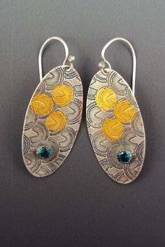 Keum Boo Gold and Silver Earrings with Faceted Blue Topaz