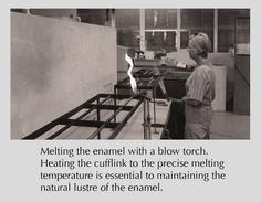 firing the vitreous enamel - the same woman who was applying the enamel. Vitreous Enamel, Factories, Cufflinks, Artisan, How To Apply, Tie, Woman, Handmade, Ties