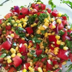 1 can of corn, 3 Roma tomatoes, half a red onion, a cup of cilantro, 1 jalapeno, the juice of 1 lime, 2 cloves of garlic