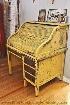 Miss Mustard Seed's Milk Paint in Mustard Seed Yellow on this vintage roll top desk