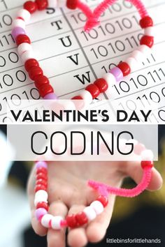 Valentines Day Coding STEM Activity Bead Binary Alphabet. Make beaded hearts for Valentines Day activity using computer coding language. An easy coding activity without a computer for kindergarten and grade school STEM.