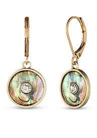 Lonna & Lilly Worn Gold-Tone and Abalone Disc Drop Leverback Earrings