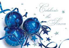 Celebrate The Season - Holiday Greeting Cards-The Office Gal Celebrate the Season is the sentiment on this card adorned with ornaments of glossy blue and twirling ribbons and stars.