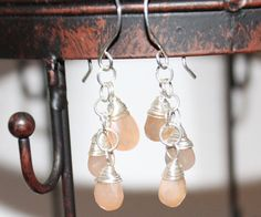 Sterling Silver Wrapped Peach Moonstone Dangle Earrings by Beazora