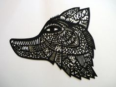 Wolf -- papercut mask painted with gouache by Sarah Andreacchio