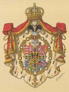 Coat of Arms of Archduke Wilhelm of Austria-Teschen (1827-1894), Grand Master of the Teutonic Order, by Hugo Gerard Ströhl.