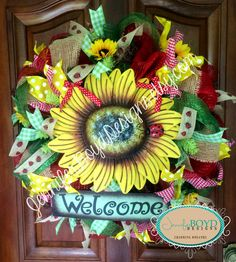 Welcome Sunflower Wreath by Jennifer Boyd Designs.  www.facebook.com/JenniferBoydDesigns www.etsy.com/shop/JenniferBoydDesigns