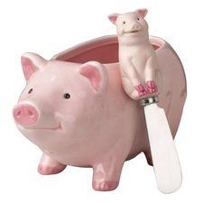 Pig Dip Bowl and Spreader Set