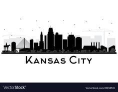 Kansas city missouri skyline silhouette with vector image on VectorStock Skyline Silhouette, Silhouette Vector, Skyline Tattoo, Kansas City Skyline, Black Building, Kansas City Missouri, Pretty Images, Travel And Tourism, Business Travel