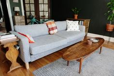 Love the view she created for the couch-- cute!! / Anna's Warm & Sweet Chicago Studio Apartment