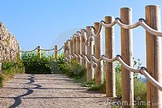 Pathway with wood post fence