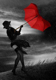 ++++Black And White With Red Umbrella Photography Red umbrella Walking In The Rain, Singing In The Rain, Color Splash, Color Pop, Colour, Foto Glamour, Arte Black, I Love Rain, Umbrella Art