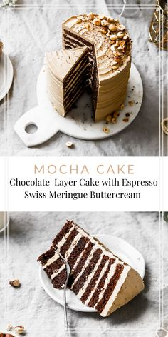 Mocha Cake is made up of eight luscious chocolate cake layers frosted with coffee Swiss meringue buttercream and topped with toasted hazelnuts. Cupcake Recipes, Baking Recipes, Cupcake Cakes, Dessert Recipes, Cupcakes, Chocolate Mocha Cake, Chocolate Bowls, Chocolate Chips, Coffee Buttercream