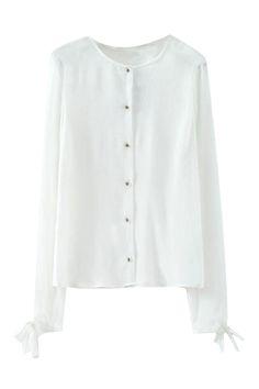ROMWE | Self-tie Sheer White Shirt, The Latest Street Fashion