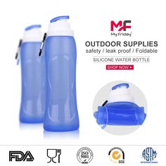 3 Pack Cruise Flask Collapsible Reusable Foldable Eco-Friendly 16 Oz Water Bottle BPA Free