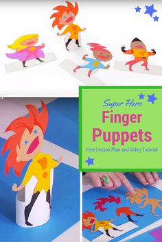 Superhero Finger Puppet free video tutorial and lesson plan for any grade level…