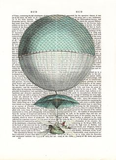 Vintage Hot Air Balloon Vaisseau Volant Art by FabFunky on Etsy, $10.00