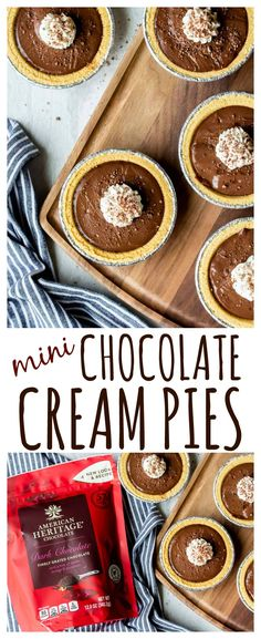 Chocolate Cream Pies - these individual pies are the perfect addition to your dessert table this holiday. They are super easy to make, rich, and elegant in both flavor and presentation. Adults and children alike will enjoy these tasty little treats! Chocolate Pie Filling, Chocolate Pie Recipes, Chocolate Cream, Mini Chocolate Tarts, Mini Desserts, Holiday Desserts, Delicious Desserts, Dessert Recipes, Party Desserts
