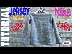 Jersey Elena talla 3 años (English Pattern at the end) Baby Knitting, Youtube, Sweatshirts, Pattern, Sweaters, Dresses, Veronica, 3 Years, Fashion