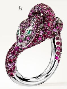 Boucheron-animal-web-Apr.2013,  Kââ Ruby Ring,Ring set with pavé rubies, black and pink diamonds, spinels, pink sapphires and two emeralds, in blackened gold