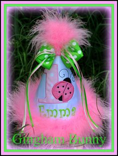 Light Pink, Lime,   Ladybug First  Birthday Hat, (Any Number) You Choose Colors, by Gingham Bunny Embroidery