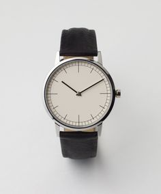 Polished Steel / Black Cashmere Leather watch from 152 Series by UiformWares (€220)
