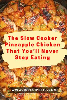 The Slow Cooker Pineapple Chicken That You'll Never Stop Eating – One Of Rec. - Easy dinners - The Slow Cooker Pineapple Chicken That You'll Never Stop Eating – One Of Recipe The Effective P - Crock Pot Recipes, Crockpot Dishes, Crock Pot Slow Cooker, Crock Pot Cooking, Cooking Recipes, Chicken In Crockpot Recipes, Crockpot Hawaiian Chicken, 3 Ingredient Chicken Recipes, Crockpot Lunch
