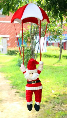 New Christmas Ornament Interesting Toy Santa Claus Doll With Parachute Home Da Decoracao De Natal Adornos Navidad Hanging Ornaments, Christmas Tree Ornaments, Christmas Fun, Hanging Decorations, Xmas Tree, Santa Doll, Kids Party Supplies, Xmas Party, Christmas Parties
