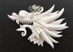 Create Your Own Paper Sculpture: Dragon Pattern - Art in the Valley LLC Dragon Pattern, Shadow Box Frames, Bronze Sculpture, Fine Art Paper, Wall Art, Antony Gormley, Paper Paper, Artwork, Pdf