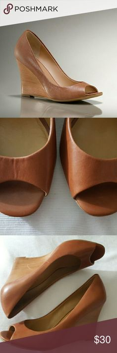 """Talbots Leni Leather Peep-Toe Wedge Leather Peep-Toe Wedge The? kitten-heeled pump's warm-weather cousin, this 3 ?"""" wedge goes with everything. Open-toe styling in rich leather.  Scuff on inside of left wedge Shoes Wedges"""
