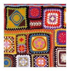 Vintage Crochet Pattern 1970s Granny Square Afghan Crazy Quilt Digital Download PDF