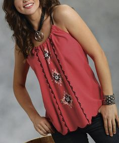 Another great find on #zulily! Red & Black Embroidered Tribal Halter Tank - Women by Roper #zulilyfinds