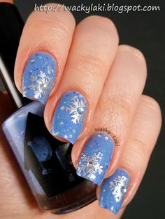 Today I would like to show you some quick nail art that I created while swatching the PolisHaus lacquers last night. Winter Wedding Nails, Winter Nails, Christmas Nail Art Designs, Christmas Nails, Snowflake Nail Art, Snowflakes, French Nails, Nagel Hacks, Holiday Themes