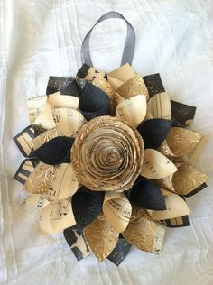 Vintage Aged Sheet Music Paper Wreath - Crafting Paper/Sheet Music Wall Decor/Music Room Decor. $28.00, via Etsy.