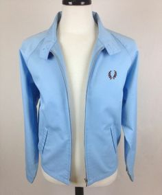 Fred Perry Jacket Chino Light Blue Cotton Full Zip Athletic Track Mens Vented M | eBay