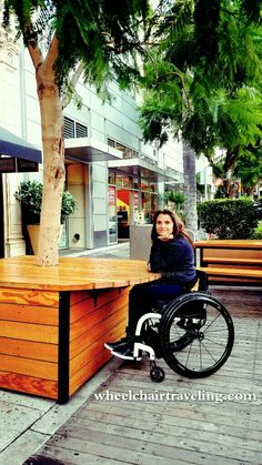 Downtown San Jose, CA wheelchair accessible patio table at a restaurant. Great universal design example.
