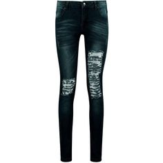 Boohoo Blue Annabel Mid Rise 5-Pocket Ripped Skinny Jean ($30) ❤ liked on Polyvore featuring jeans, bottoms, pants, high rise skinny jeans, destroyed skinny jeans, distressed boyfriend jeans, high waisted jeans and high-waisted boyfriend jeans