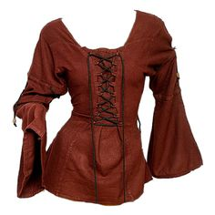 Medieval Blouse ❤ liked on Polyvore featuring tops, blouses, medieval, shirts, brown shirt, shirts & blouses, brown tops, brown blouse and shirts & tops