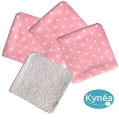 Lingettes Lavables Rose Pois blanc (x4) Kynéa