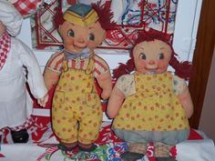 Vintage cloth doll dolls 30s 40s pr toy google eyes floral clothes cottage EX