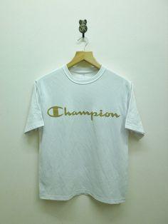 Vintage 90's Champion Gold Logo T-Shirt Sport by RetroFlexClothing