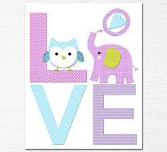 purple and aqua love nursery art Print 8x10 Kids by SugarInspire, $14.95